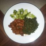 Best part of the day; late dinner-steamed broccoli, traditional veggies…