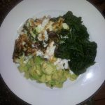 Earlier today-breakfast; avocado, steamed spinach & nargesi omelette-egg whites only…