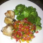 ..late dinner-baked chicken, steamed broccoli, capsicum, tomatoes and onions ...…