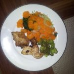 Late dinner. Steamed veggies; baked chicken #delish #cleaneating